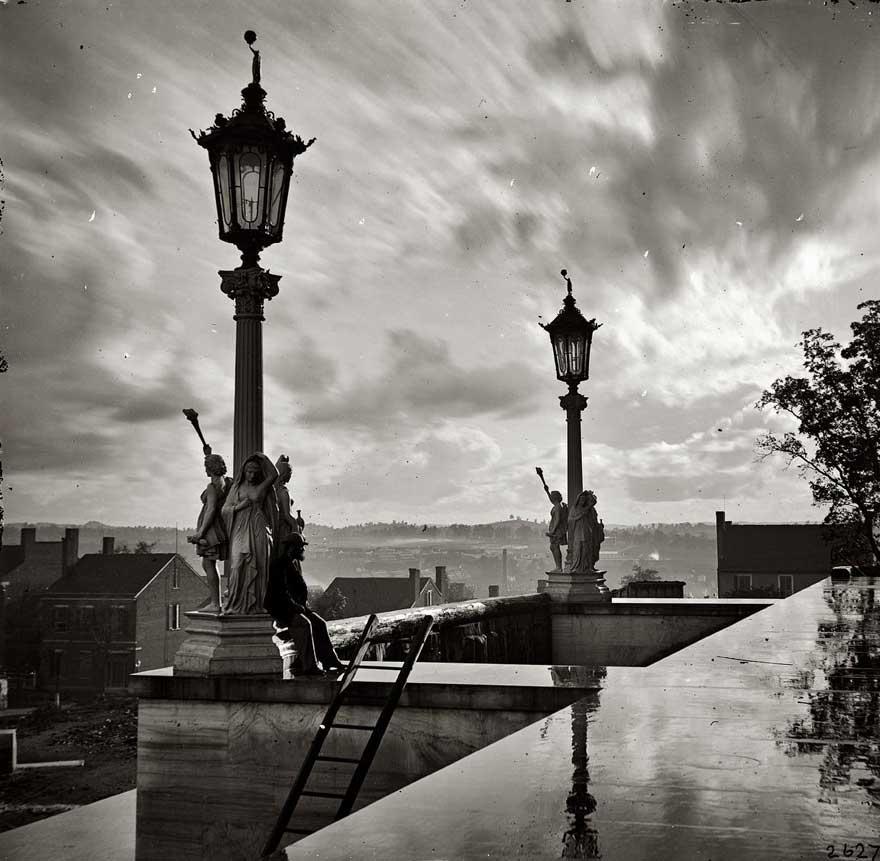 Вид с Капитолия в Нэшвилле, штат Теннесси, во время Гражданской войны, 1864 год