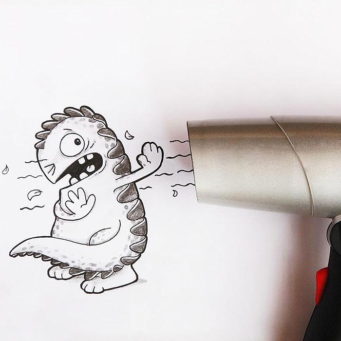 cute-dragon-doodles-interact-3d-objects-drogo-manik-ratan-5