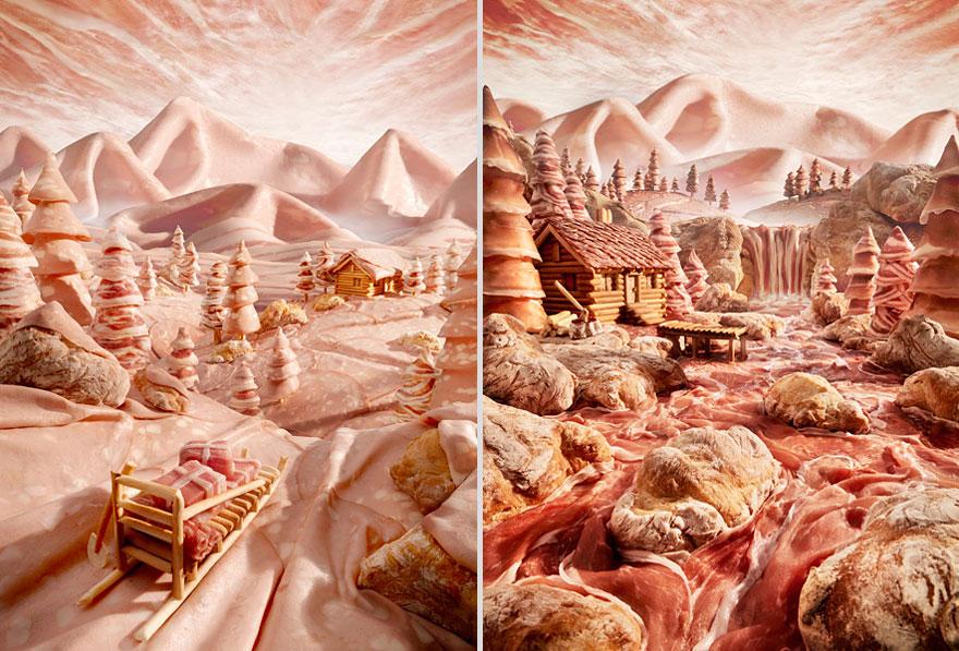 Горы и река из салями