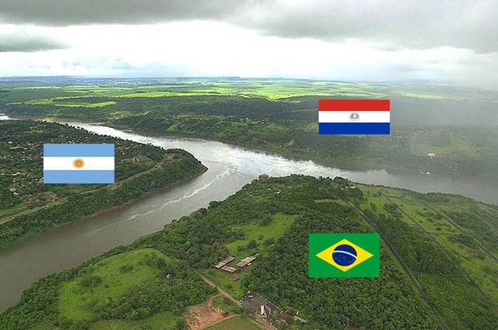Граница между Аргентиной, Бразилией и Парагваем