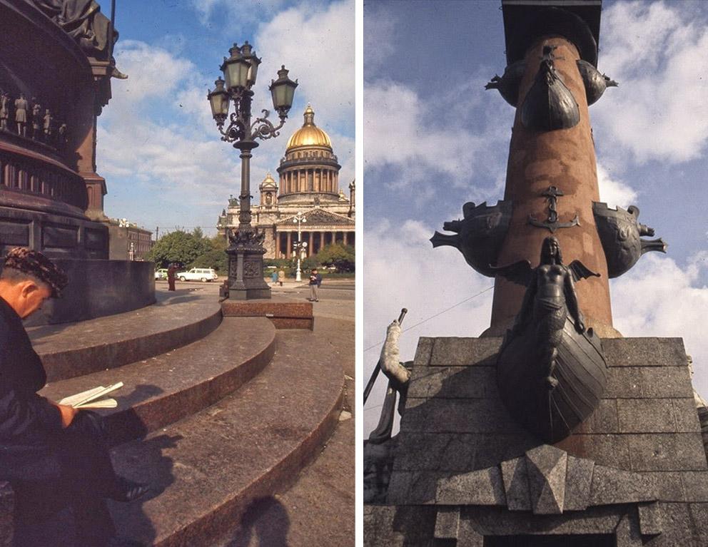 У памятника Николаю I и Ростральные колонны на Стрелке Васильевского острова