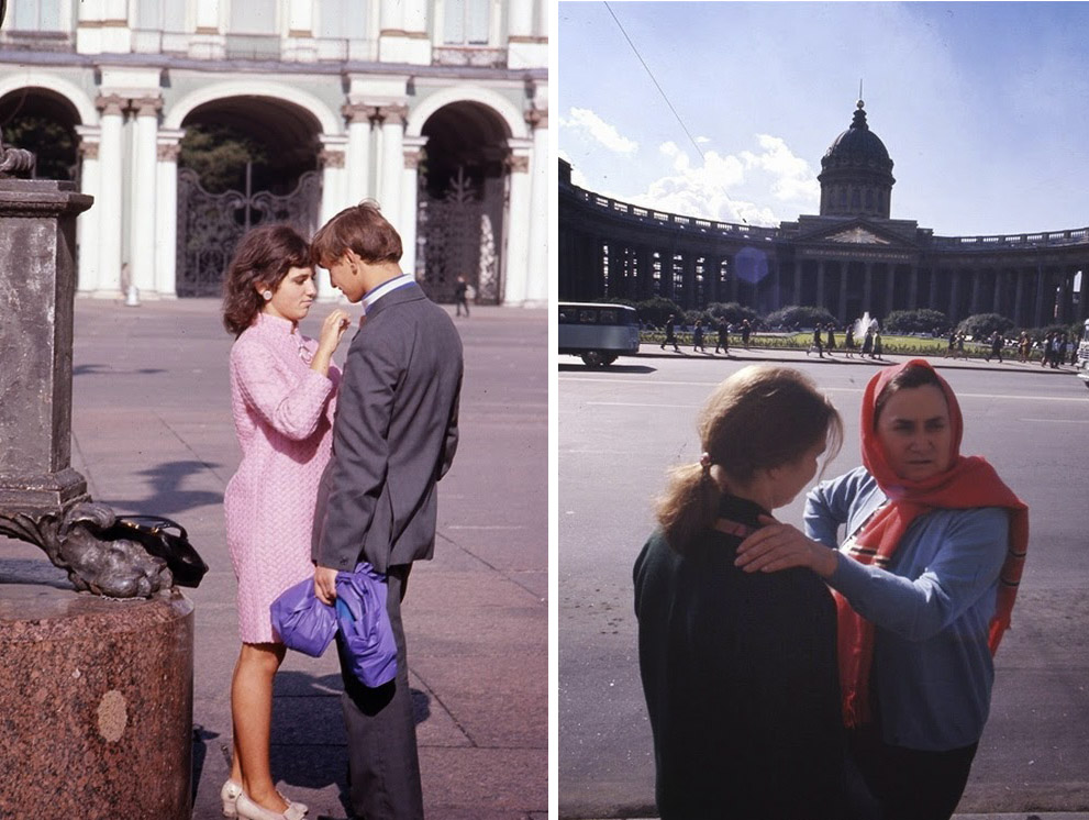 Влюбленная пара. На втором фото: женщины у Казанского собора.
