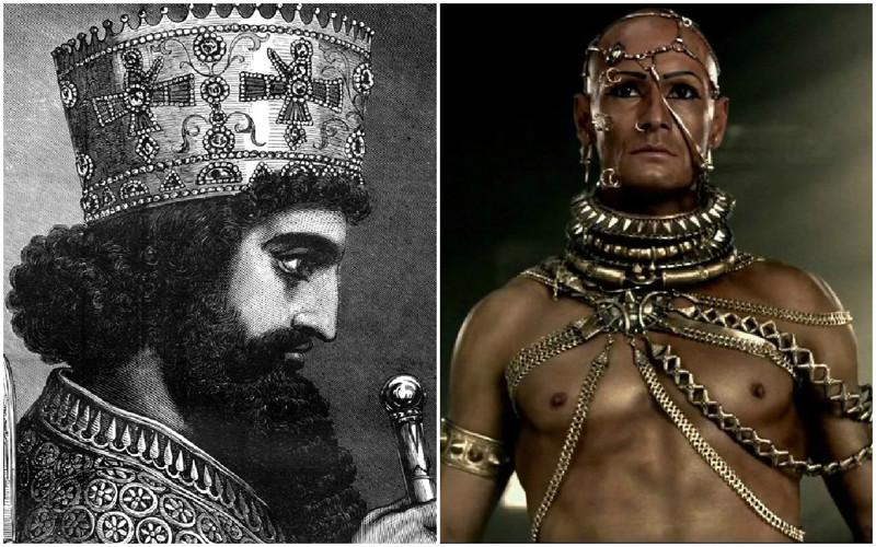 Ксеркс — персидский царь из династии Ахеменидов правивший в 486—465 годах до н. э. На престол вступил в возрасте около 36 лет. Согласно античным преданиям Ксеркс был вял, недалёк, бесхарактерен, легко подчинялся чужому влиянию, но отличался самоуверенностью и тщеславием. Восточные источники изображают совершенно другую личность. Они изображают Ксеркса мудрым государственным деятелем и опытным воином. Сам Ксеркс, в надписи найденной около Персеполя и, впрочем, по существу, являющейся лишь копией надписи Дария I, заявляет, что он мудр и деятелен, друг правде и враг беззаконию, защищает слабого от притеснений сильного, но и сильного оберегает от несправедливости со стороны слабого, умеет владеть своими чувствами и не принимает поспешных решений, наказывает и вознаграждает каждого в соответствии с его проступками и заслугами.