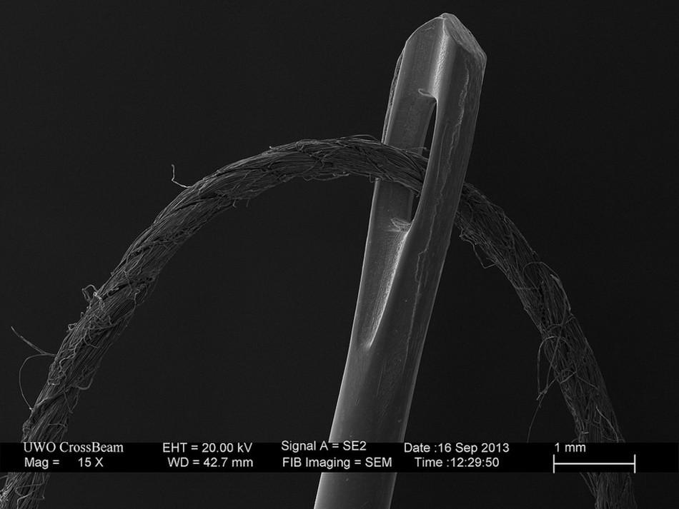 Иголка и нитка, 15-кратное увеличение