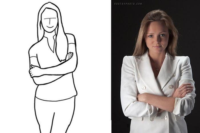 Считается, что при скрещивании ног и рук между людьми создаётся некий психологический барьер, и при фотосъемке это нерекомендательно. Однако это не всегда так. Фотографу стоит попробовать сделать фото, где руки модели скрещены на груди. Это отличная поза для женской фотосессии.