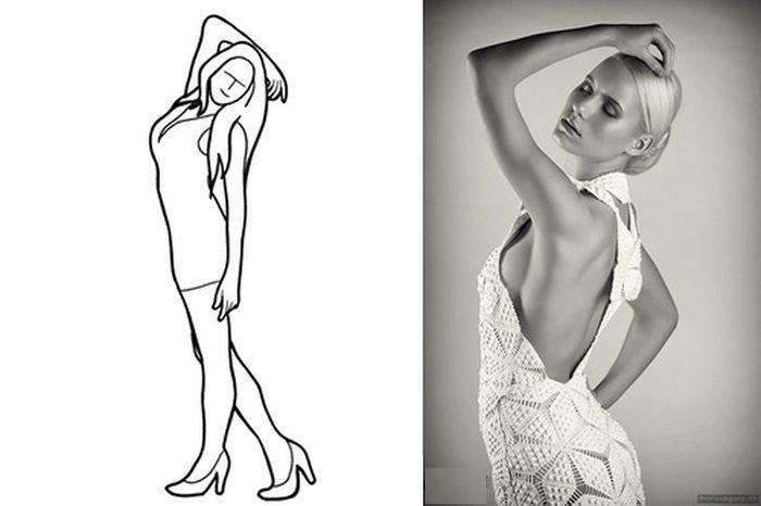 Пример женственной и выигрышной позы для снимка модели в полный рост.