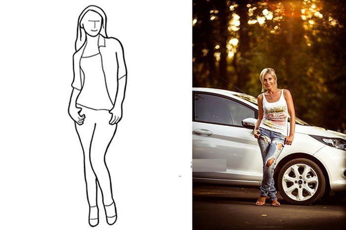 Еще один пример позы для фото в полный рост, который идеально подходит для фотосессии. Руки девушки, полностью или частично, находятся в карманах.