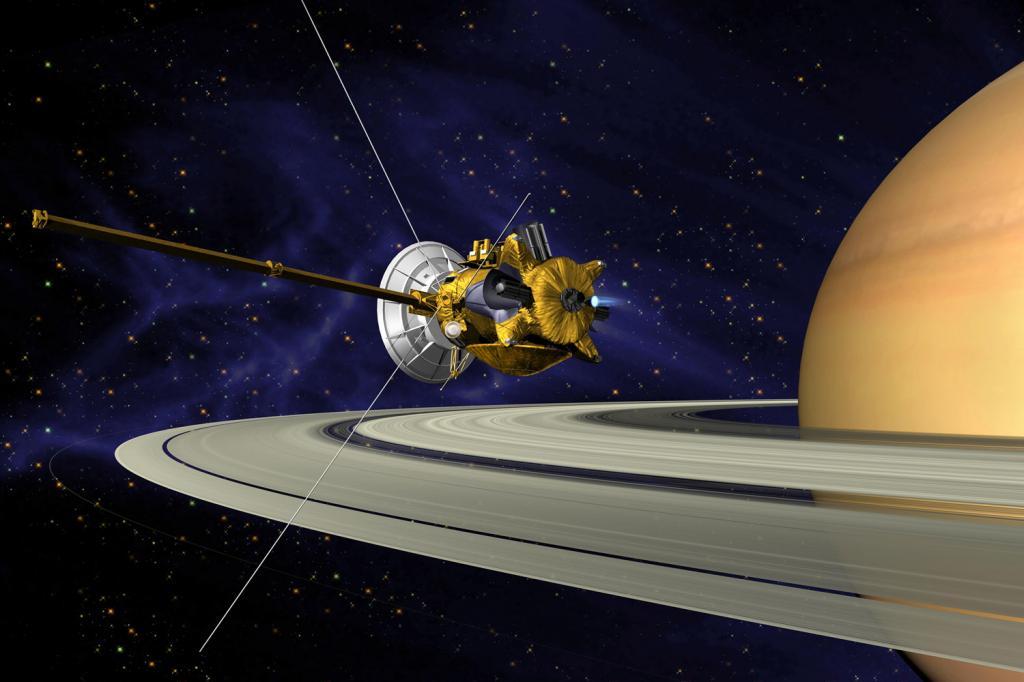 Кассини на фоне Сатурна в представлении художника