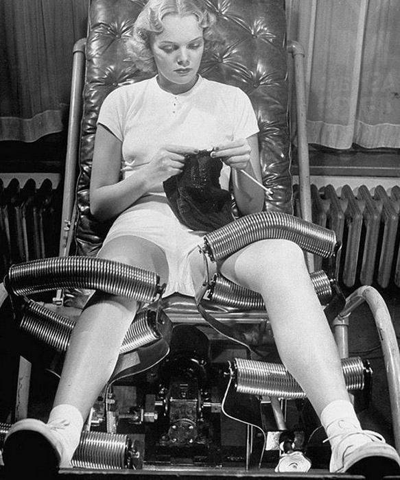 Салоны для похудения были популярны в 1940-х годах. В каждом салоне использовалась своя методика к снижению веса. Одним из таких методов стали машины для похудения, которые представляли из себя специальное кресло, которое массажировало ноги пациента с помощью металлических роликов.