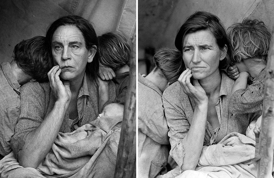 Фото Сандро Миллера/«Мать-мигрантка» (1936 год). Фото Доротеи Ланж