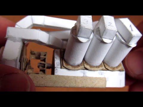Работающая модель двигателя V6 из бумаги