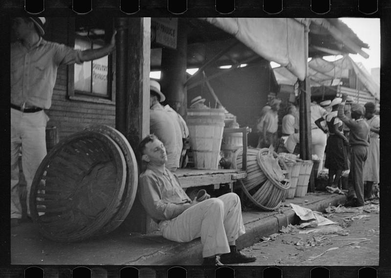 Торговая площадь в Новом Орлеане, штат Луизиана. Июнь 1936.