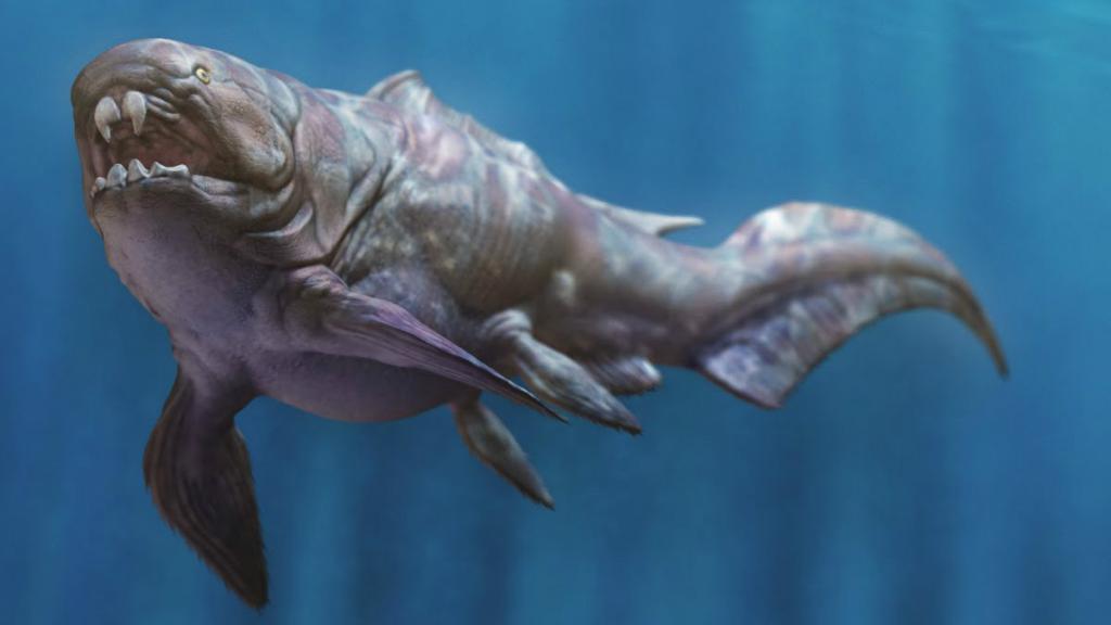 Дунклеостей был самой крупной из доисторических панцирных рыб плакодерм. Её голова и грудь были покрыты сочлененной бронированной пластиной. Вместо зубов, эти рыбы обладали двумя парами острых костных пластин, которые сформировали клювную структуру. Дунклеостей вероятно были истреблены другими плакодермами, у которых были такие же костные пластины для защиты, их челюсти достаточно мощные, чтобы резать и пробивать бронированную добычу. Один из крупнейших известных найденных экземпляров, был 10 метров в длину и весил четыре тонны, что делает его одной из рыб, которую вы точно не хотели бы поймать на спиннинг! Эта рыба была совсем не разборчива в еде, ела рыбу, акул и даже рыб своего семейства. Но вероятно они страдали от расстройства желудка, спровоцированного окаменелостями полупереваривавшихся остатков рыб. Ученые из Чикагского университета заключили, что Дунклеостей обладал вторым по силе укусом среди рыб. Эти гигантские бронированные рыбы вымерли во время перехода от девона к каменноугольному периоду.