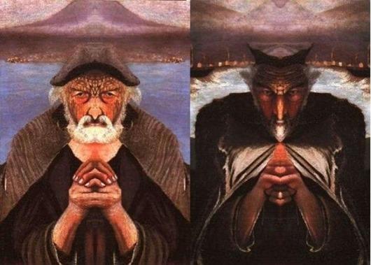 Мало кому пришло в голову прикладывать зеркало к середине картины. В каждом человеке может быть как Бог (продублировано правое плечо Старика), так и Дьявол (продублировано левое плечо старика).