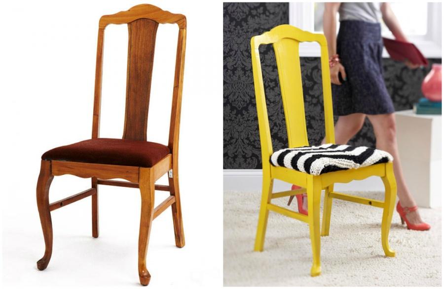 Старый стул превратился в стильный дизайнерский объект