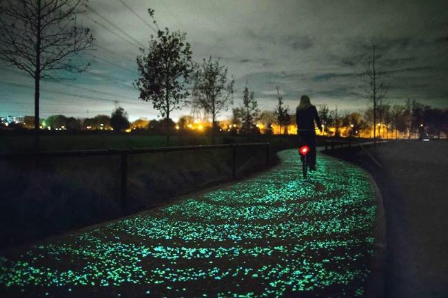 Светящиеся в темноте парковые дорожки для велосипедистов и пешеходов