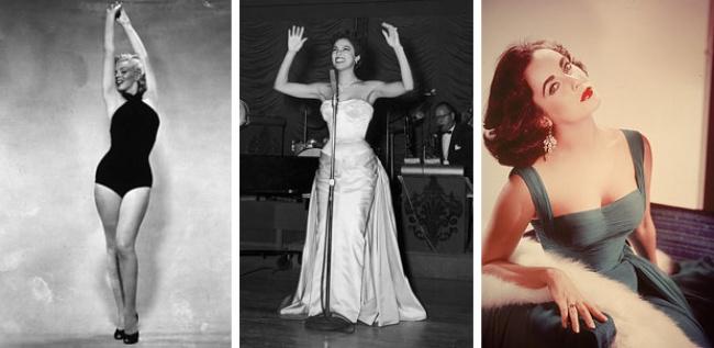 В 50-е в моду вновь входят округлые, пышные, мягкие формы. Всюду, вплоть до рекламных плакатов, высмеивались худые женщины — дам буквально вынуждали набирать вес, дабы обрести желаемые округлости тела. Идеалами женской красоты были Элизабет Тейлор и Мэрилин Монро.