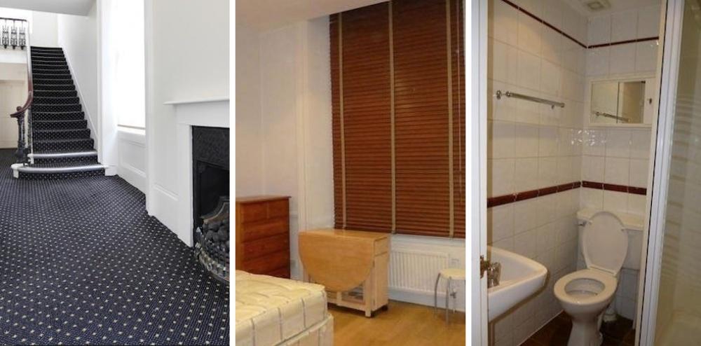 Место: Кенсингтон-Хай-стрит. Квартира-студия с кроватью, кухней и туалетом. Есть безумно красивый холл.