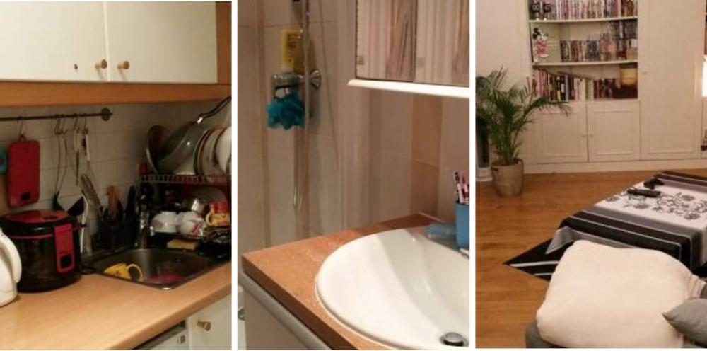 Место: 13-й округ Парижа. 40 квадратных метров. Кухонька, туалет и душ. Идеальна для парочки.