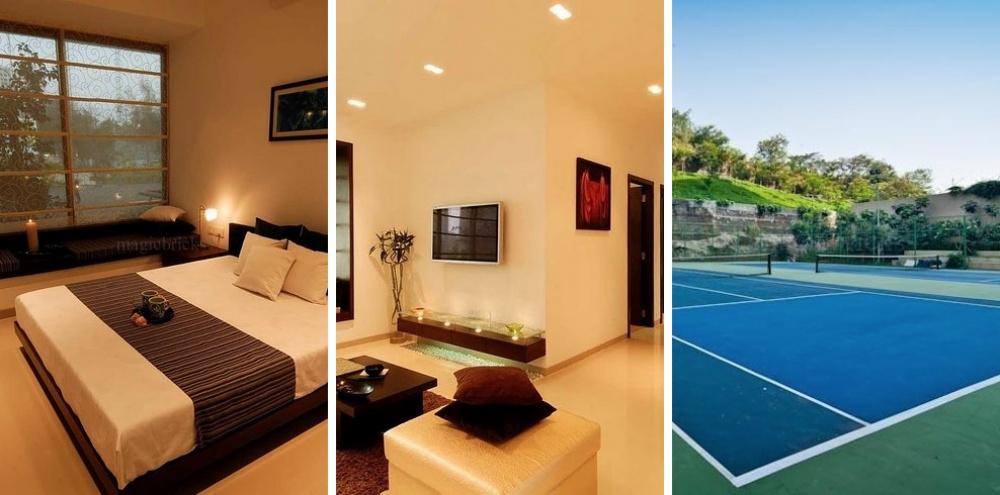 Место: Пунэм Нагар. 3 спальни, 2 ванные комнаты. Зал для занятий спортом, бассейн, беговая дорожка.