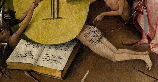 Студентка Христианского университета Оклахомы Амелия Хэмрик, изучавшая картину, переложила нотацию XVI века на современный лад и записала «песню с задницы из ада, которой исполнилось 500 лет». Получившаяся мелодия стала одной из интернет-сенсаций последнего времени. Иероним Босх, «Сад земных наслаждений», 1500-1510.