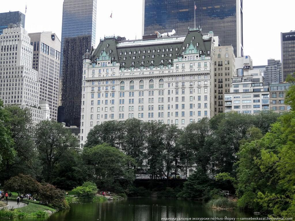 Плаза — это отель, построенный в 1907 году на пересечении Пятой авеню и 58-й улицы. И не просто отель, а один из самых знаменитых в Нью-Йорке. В Плазе останавливались многие известные люди. Например, там жила четверка Битлз во время их первого визита в США в 1964 году. Отель вы наверняка видели в фильме «Один дома 2». Герой Маколея Калкина, потерявшийся в Нью-Йорке, жил именно в Плазе. В холле он встретил тогдашнего владельца отеля — Дональда Трампа. Но с тех пор изменились и Маколей Калкин, и владелец, и сам отель.