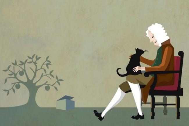 Шрёдингер ходил по комнате в поисках нагадившего котёнка, а тот сидел в коробке ни жив ни мертв.