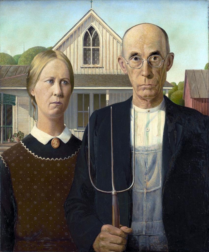 Работа Гранта Вуда считается одной из самых странных и угнетающих в истории американской живописи. Картина с мрачными отцом и дочерью переполнена деталями, которые указывают на суровость, пуританство и ретроградство изображенных людей. На самом деле художник не задумывал изображать никаких ужасов: во время поездки по штату Айова он заметил небольшой дом в готическом стиле и решил изобразить тех людей, которые, по его мнению, идеально подошли бы в качестве обитателей. В виде персонажей, на которых так обиделись жители Айовы, увековечены сестра Гранта и его дантист.