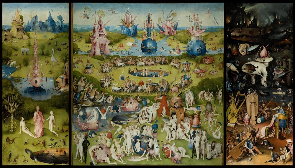 Споры о значениях и скрытых смыслах самой известной работы голландского художника не утихают с момента ее появления. На правой створке триптиха под названием «Музыкальный ад» изображены грешники, которых истязают в преисподней при помощи музыкальных инструментов. У одного из них на ягодицах оттиснуты ноты.