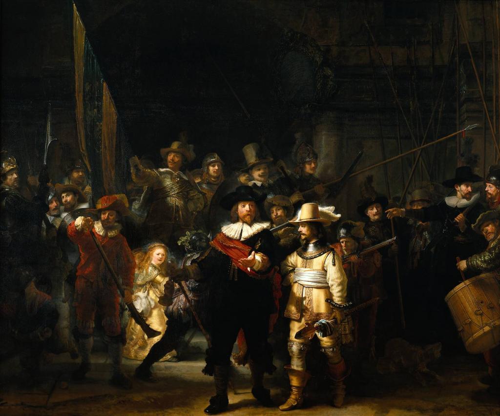 Одна из самых известных картин Рембрандта «Выступление стрелковой роты капитана Франса Баннинга Кока и лейтенанта Виллема ван Рёйтенбюрга» около двухсот лет провисела в разных залах и была обнаружена искусствоведами только в XIX веке. Поскольку казалось, что фигуры выступают на тёмном фоне, её назвали «Ночной дозор», и под этим названием она и вошла в сокровищницу мирового искусства. И только при реставрации, проведённой в 1947 году, обнаружилось, что в зале картина успела покрыться слоем копоти, исказившим её колорит. После расчистки оригинальной живописи окончательно выяснилось, что сцена, представленная Рембрандтом, на самом деле происходит днём. Положение тени от левой руки капитана Кока показывает, что время действия — не более 14 часов.