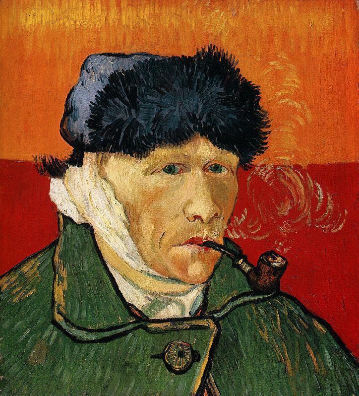 О том, что ван Гог якобы сам отрезал себе ухо, ходят легенды. Сейчас наиболее достоверной считается версия о том, что ухо ван Гог повредил в небольшой потасовке с участием другого художника — Поля Гогена. Автопортрет же интересен тем, что отражает реальность в искаженном виде: художник изображен с перевязанным правым ухом, потому что он при работе использовал зеркало. На самом деле пострадало левое ухо.