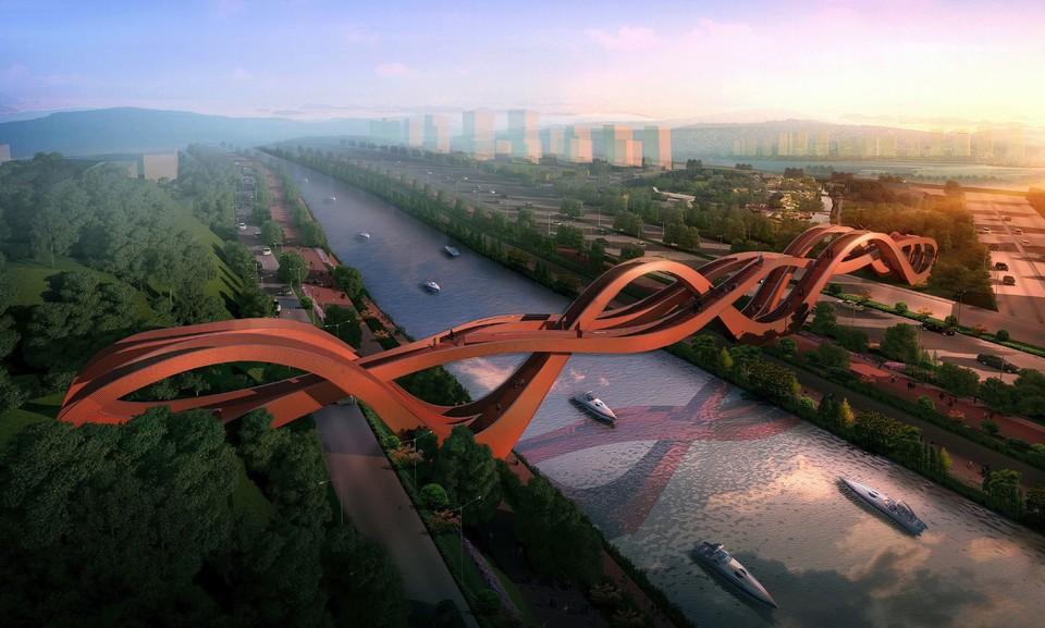 Пешеходный мост Dragon King Kong Bridge находится в китайском городе Чанша (Changsha). Изгибы моста очень похожи на ленты Мёбиуса — символ совмещенных пространств, имеющий для китайцев философское значение. Длина Dragon King Kong Bridge составляет 185 метров, а высота — 22 метра.