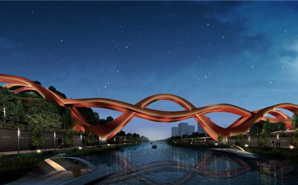 Дизайн моста выполнен в виде лент Мёбиуса.