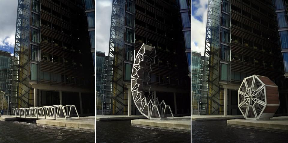Удивительную конструкцию представляет собой мост Rolling Bridge в Лондоне. Это настоящий трансформер. Как только судам нужно пройти по каналу Гранд-Юнион, одна сторона моста поднимается и в буквальном смысле сворачивается в круг.