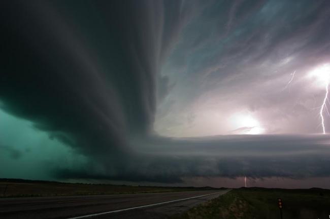 Буря над Санд-Хиллз, штат Небраска, США