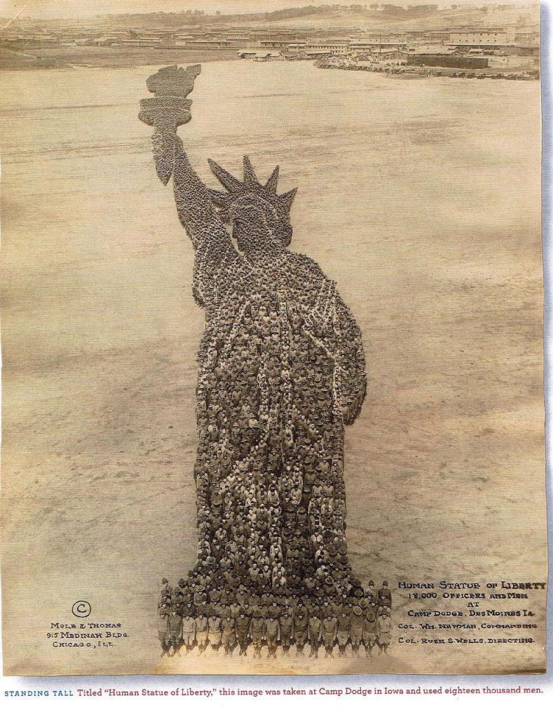 Живая Статуя свободы. Задействовано 18 000 человек. Айова. США. 1918 год.