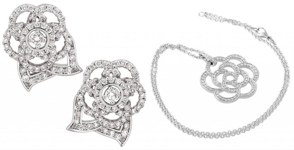 Комплект «серьги + колье» Chanel Camelia французского бренда Chanel. Стоимость – 804 тыс. рублей