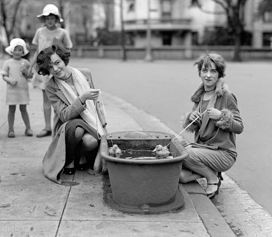 Девушки выгуливают утят в поилке. Вашингтон, 1927 год