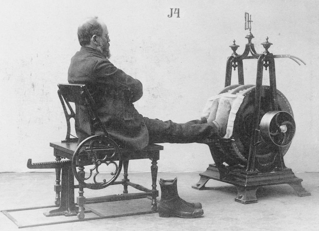 Доктор Роберт Брюс и его тренажер для диагностики сердечных заболеваний. 1852 год. США.