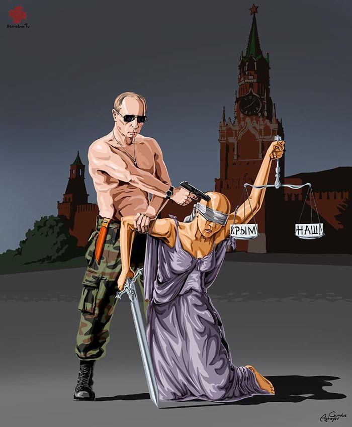 Сатирические иллюстрации, демонстрирующие, как мировые лидеры видят правосудие