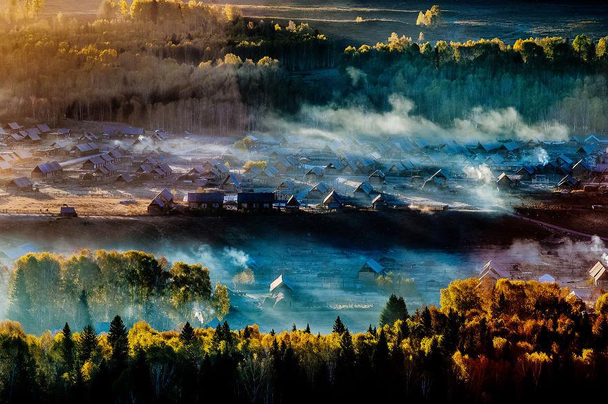 Закат в деревне Хему