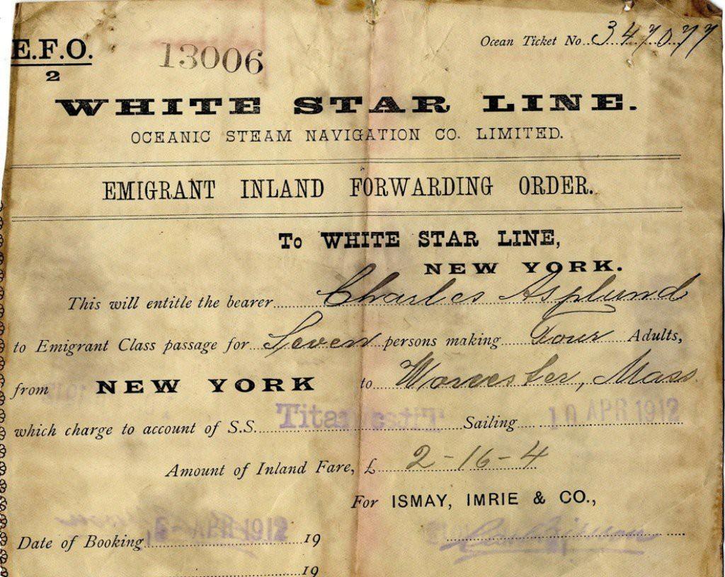 Пассажирский билет на Титаник. Апрель 1912 г.