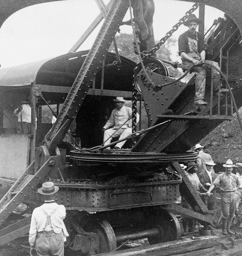 Theodore Roosevelt Sitting in Crane at Panama Canal