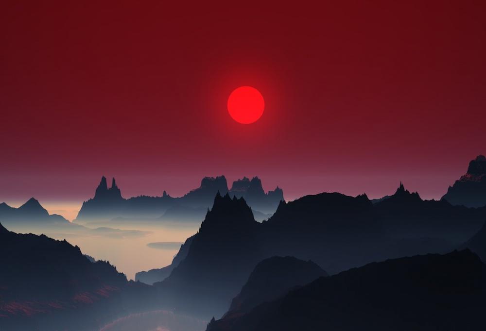 Закат в горах Японии.