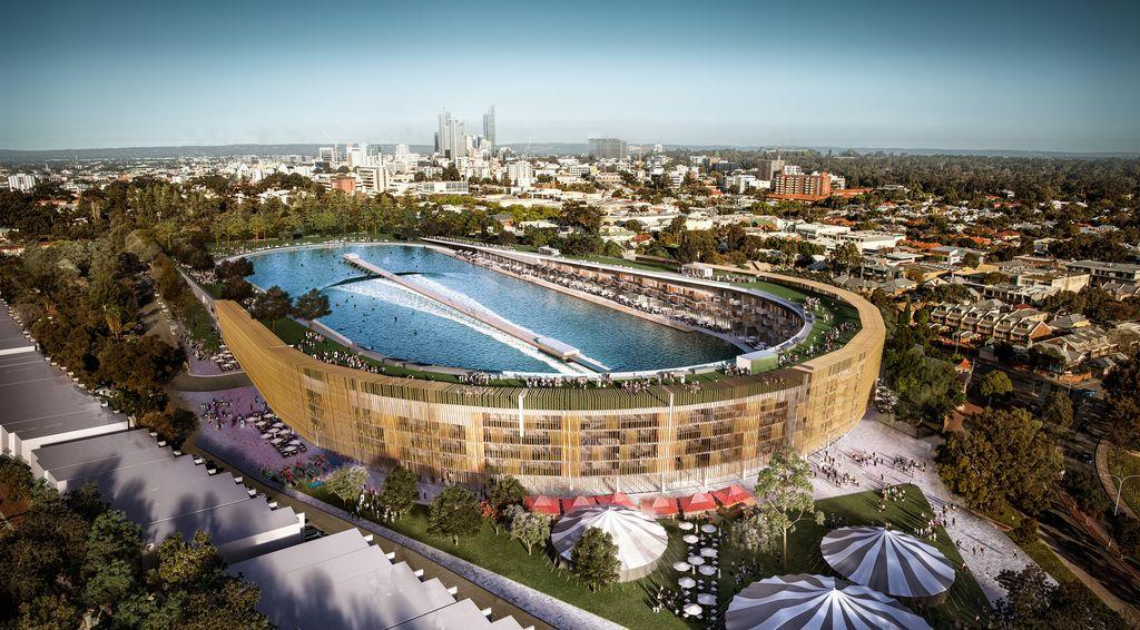 Грандиозная трансформация футбольного стадиона в волновой бассейн для серфинга