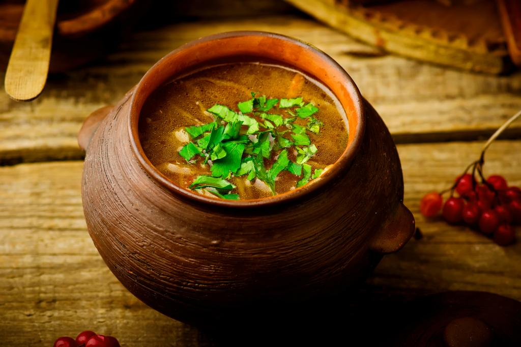shchi, traditional Russian soup from cabbage. style rustic.