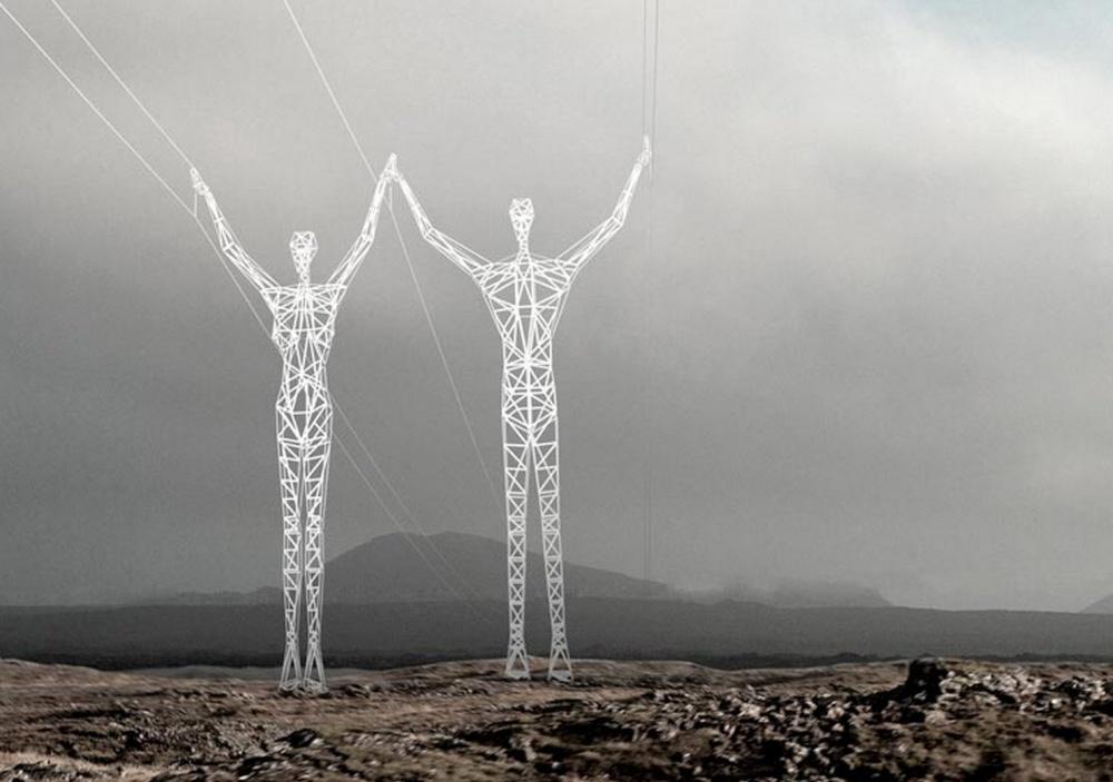 В Исландии линии электропередач превратили в гигантских людей