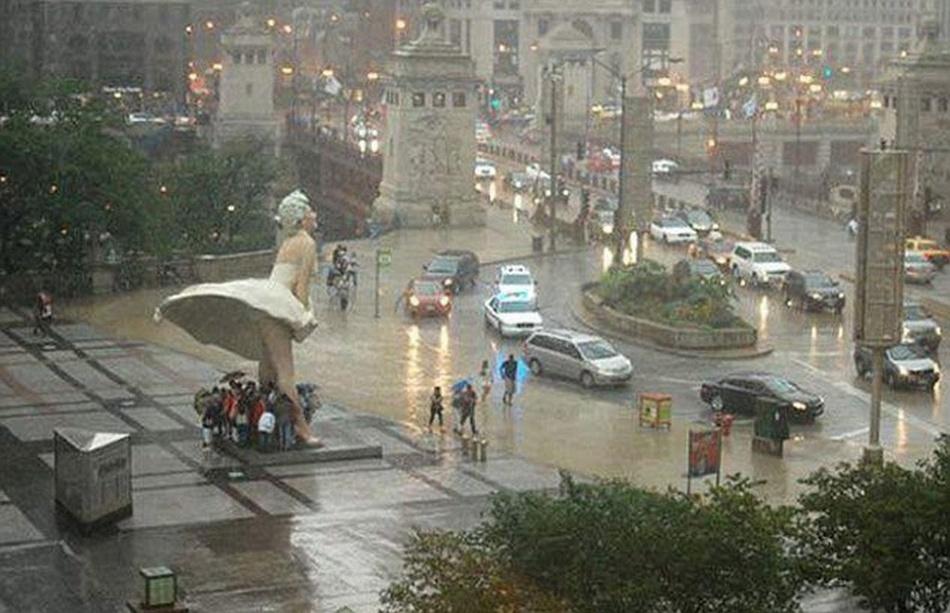 Обычный дождливый день в Чикаго, США