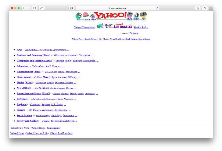 В 1994 году был создан веб-сайт, который назывался «Путеводитель Джерри по Всемирной Паутине». Впоследствии сайт был переименован в Yahoo