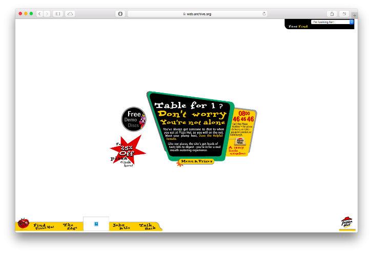 Сайт американской сети ресторанов Pizza Hut был запущен в 1994 году. На сайте можно было заказать или зарезервировать столик.